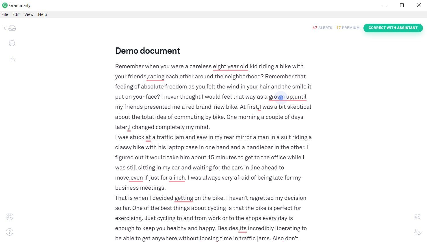 Grammarly - demo document