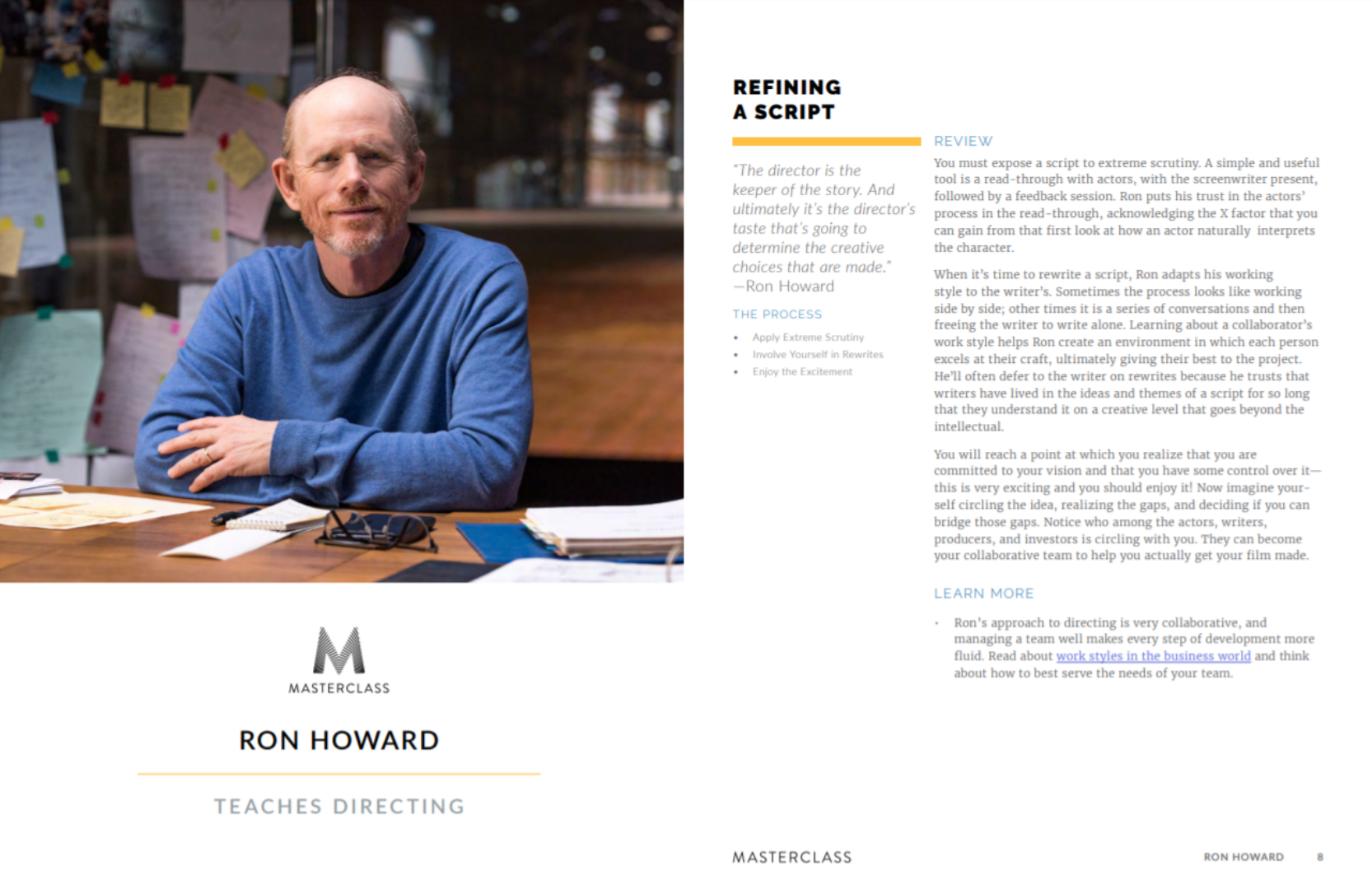 ron howard masterclass review workbook